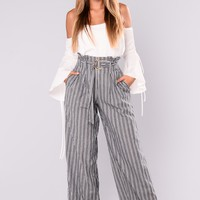 Katrina Stripe Pants - Navy