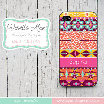 iPhone 4 4s Cell Phone Case Tribal Trendy Hipster Aztec Pattern Apple Personalized Name Monogram Protective Plastic Hard Cover VM-1048