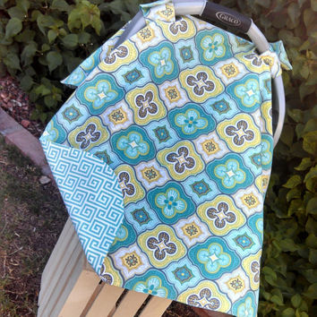 Baby Car Seat Canopy Teal Yellow Grey Car Seat Cover - Ready to Ship
