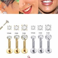 14K Solid Gold Push-In Round CZ Monroe / Tragus / Labret