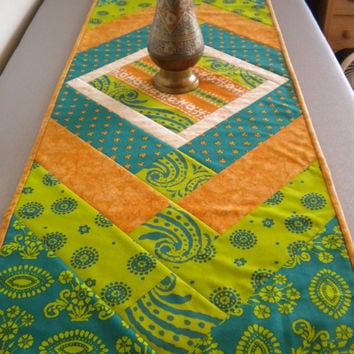 Quilted Table Runner, African Home Decor Quilt, lime green turquoise, tribal home decor fabric art, dining quilted cotton, fall table runner