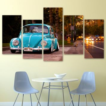 Frameless Pictures 5 Piece Artwork Canvas Print Beetle Car Portrait Home Living Room Decor Modern Wall Art Painting Pictures for