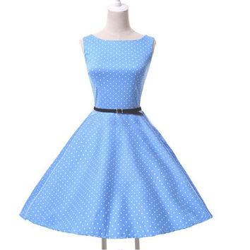 Retro Sleeveless Wave Point Dress = 1946383300