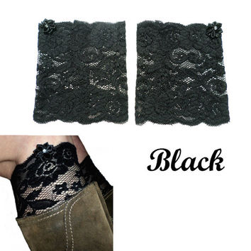 Black Floral Scalloped Stretch Lace Satin Rhinestone Peek a Boo Boot Cuffs Lacey Boot Cuffs Boot Toppers