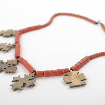 Handmade designer coral necklace with five bronze cross pendant charms for women