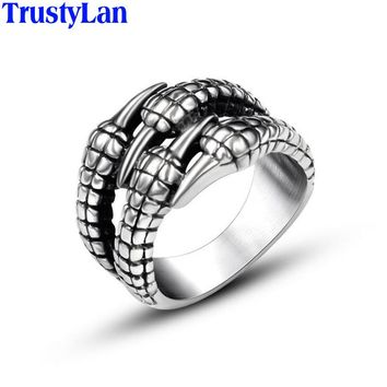 TrustyLan Punk Rock Dragon Claw Man Ring Hip-Hop Style Biker Jewelry High Quality Stainless Steel Men Rings Dropshipping Gift