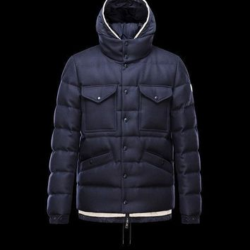Moncler Men Wool Trimmed Down Quilted Coat