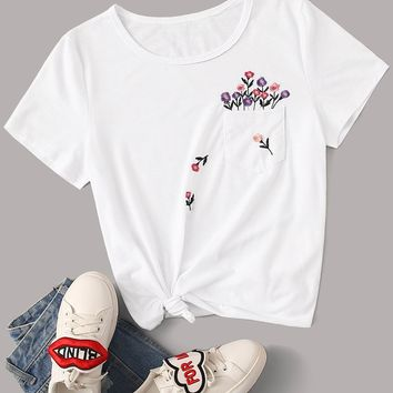 Embroidered Floral Pocket Patched Tee