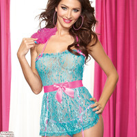 Flirty Delicate Lace Apron Babydoll with Feather Tickler