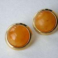 Vintage Orange Swirl Napier Earrings, Round Lucite Cabochon