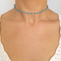 Turquoise Beaded Choker - Turquoise Necklace - Boho Jewelry - Layering Necklace - Gypsy Jewelry