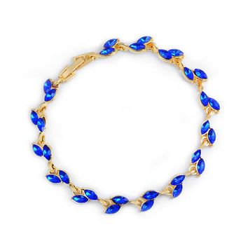 H:HYDE 1pc Gold blue Crystal Leaf chain Bracelet bangle For Women 2017 Fashion design Fashion Mujer Jewelry