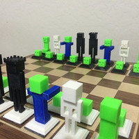 Minecraft Chess Set,  Creepers Endermen Skeletons and Zombies Oh My! 3D-Printed.