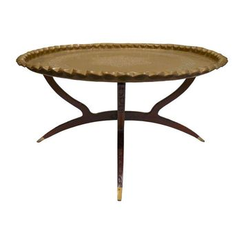 Pre-owned Reticulated Brass Tray Table