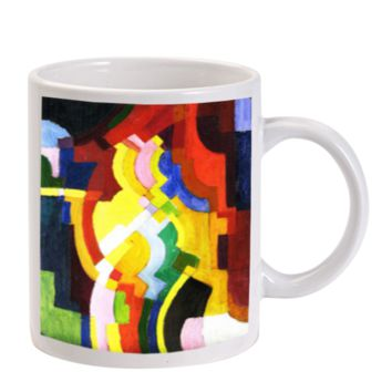 Gift Mugs | August Macke Abstract Cubist Painting Art Ceramic Coffee Mugs