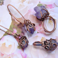 Natural amethyst jewelry set, Copper amethyst set, jewelry set, earrings amethyst, Amethyst ring Amethyst pendant gift for her FREE SHIPPING