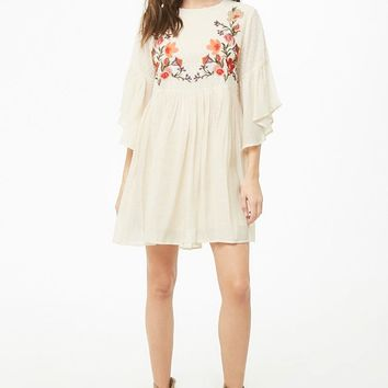 Embroidered Floral Babydoll Dress