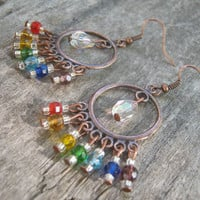 Chakra Rainbow Antique Copper Earrings, Filigree Chandelier Jewelry