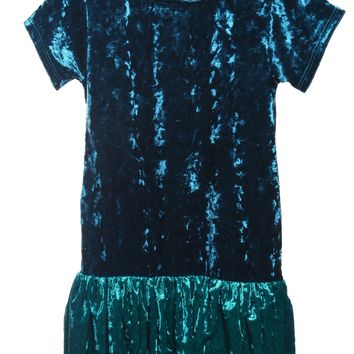 Girls Teal Color Block Velvet Hoodie Dress w. Pockets 2-12 & Plus 14x-18x