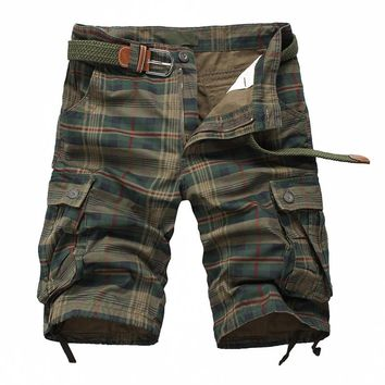 New Arrival 2017 Fashion Plaid Beach Shorts Mens Casual Camo Camouflage Shorts Military Short Pants Male Cargo Overalls 13M0575