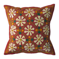 "16"" Red Indian Mirror Patchwork Floral Appliqued Cotton Throw Pillow Case"