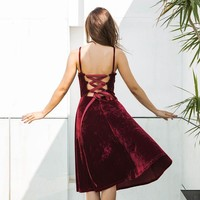 Spaghetti Strap Velvet One Piece Dress [96253837327]