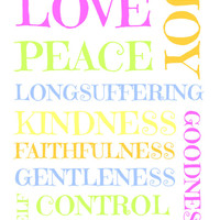 Peace, Kindness, Goodness, Gentleness, Joy, Love Typography Photo, Poster or Canvas Print Wall Decor Pink, Green, Grey, Yellow, Orange, Blue