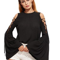 Women Blouses Long Sleeve Loose Blouse Ladies Tops Black Lace Up Open Shoulder Bell Sleeve Crinkle Top Blouse