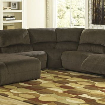 Ashley Furniture 56701-05-77-46-57-41 5 pc toletta ii collection chocolate colored fabric sectional sofa with recliners and chaise