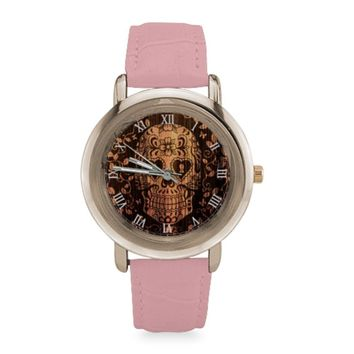 Sugar Skull #1-#5 Rose Gold Leather Strap Women Watches (5 styles)