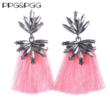 PPG&PGG statement good tassel drop clear Crystal POMPOM EARRINGS fashion earring women Fringing earrings jewelry