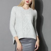 Soufflé Cable Knit Sweater in Grey