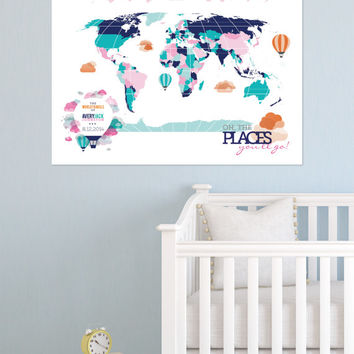 Dr. Seuss Oh the places you'll go,INTERACTIVE Map Print // Mark the places visited // Print or Gallery Wrapped Canvas // N-I01-1PS AA3