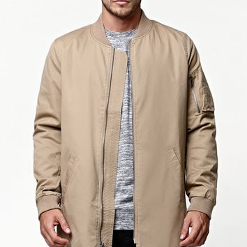 Reign+Storm Long Bomber Jacket - Mens Jacket - Tan