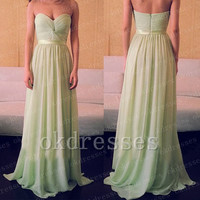 Hot Sales Cheap Long Prom Dress,Custom Made Sage Chiffon Evening Dress,A Line Floor Length Graduation Dress,Bridesmaid Dress,Communion Dress