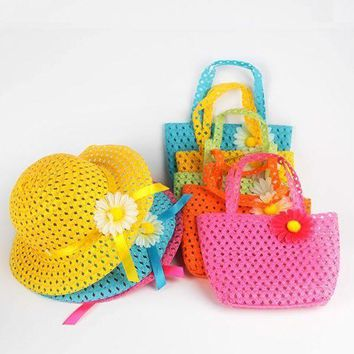 PEAP78W Summer Sun Hat Girls Kids Beach Hats Bags Flower Straw Hat Cap Tote Handbag Bag Suit 1-6Y