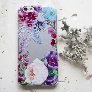 Magic Flowers Rose Violet Colorful on Ultra Thin Clear Transparent Case for iPhone 6 6s Plus Samsung S4 Galaxy S5 S6 Note iPod 071