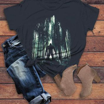 Women's Cool Bigfoot T-Shirt Forest Sasquatch Tee Grunge Hide Seek Hipster