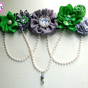 Maternity Sash / Belly Sash / Gender Reveal / It's a Boy / Baby shower sash / Gray green sash / flower sash / photo prop sash / bump sash