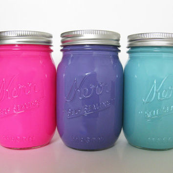 Pink, Purple, and Light Blue Painted Mason Jars