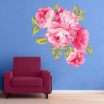 Peony Wall Decal Peony Flowers Wall Sticker Vintage Watercolor Peony Wall Stickers Floral Wall Decals cik2266
