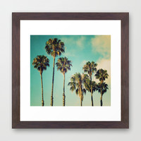 Palms Blue Framed Art Print by RichCaspian | Society6