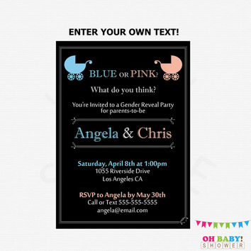 Gender Reveal Party Invitation Pink or Blue Editable Gender Reveal Invites Printable PDF Instant Download Boy or Girl Gender Reveal Invite