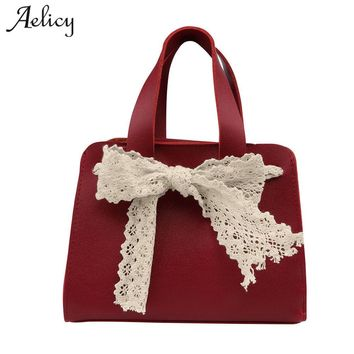Aelicy luxury high quality pu leather new lace bow tide shoulder bags fashion woman designer bags crossbody bags for women