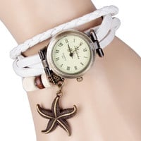 White Wrap Watch with Starfish Charm