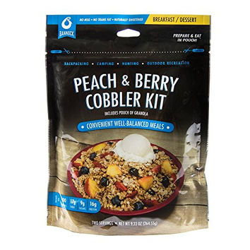 Bannock Peach & Berry Cobbler - 1 Pouch - 2.5 Servings - Freeze Dried Camping, Hiking & Backpacking Dessert - Cook in Pouch Camp Breakfast