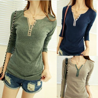 Womens Long Sleeve Bottoming Shirt Crew Neck T-shirt Top Blouse Casual Tee  D_L
