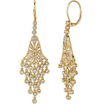 2.27ct Diamond Drop Chandelier Dangle Earrings 14k Yellow Gold Vintage Antique Style