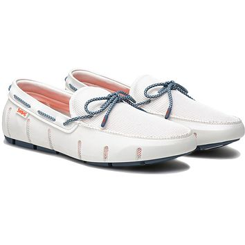Men's Stride Lace Loafer in White & Slate Fleck by SWIMS