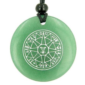 Star of Hermes Amulet Travelers Protection Green Aventurine Magic Circle Good Luck Pendant Necklace